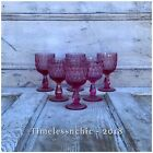 Set Of Six 6 Fenton Colonial Pink Thumbprint Wine Glasses Goblets Chalices