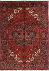 Vintage Geometric Heriz Persian Red Area Rug Oriental Room Size Wool Carpet 7x10