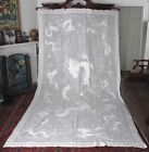 c'19th Chinese Embroidered Textile White Huge Tablecloth Dragons Chase Pearl