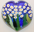 Mad Art Blue Daisy Heart Art Glass Paperweight Artist Signed