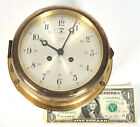 Vtg Salem Ship Bell Clock Silent Strike 8-day Jeweled Brass Glass 6
