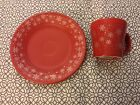 NEW Fiestaware Snowflake Scarlet Lunch Plate & Tapered Mug, Exclusive, Red, 1stQ