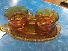 Indiana Glass Kings Crown Thumb Print  3 Poece Amber
