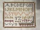 PRIMITIVE FINISHED Cross Stitch Stitchery Alphabet Sampler Colonial Unframed