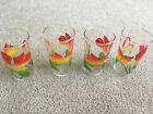 Set of 4 Federal Glass SWANKY SWIGS Tumblers Red Orange Flowers TULIP? ORCHIDS?