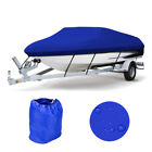 17 19Ft 600D Heavy Duty Waterproof Blue Boat Cover Fishing Ski V hull Washable