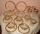 PRETTY VTG ETCHED GOLD TRIMMED LUNCHEON SET Plates CUPS Glasses CREAMER Sugar