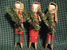 Primitive Christmas Clothespin Prairie Doll Bowl Fillers Set of 3 Reds