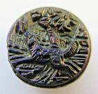 Wonderful Antique Carnival Luster Black GLASS Picture BUTTON Dog After Bird (W9)