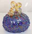 Signed and Dated Opal Art Glass Cobalt Cinderella Pumpkin