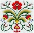 Series - 9 X 12 Embroidered Quilt Block - Pre Order - Swedish Folk Flowers