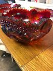 Vintage Red Amber Carnival Glass Bowl Buzz Star LE Smith FREE SHIPPING