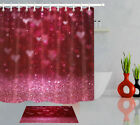 Shiny Red Heart Valentine Day Polyester Fabric Shower Curtain Bath Accessory Set