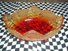 Nice 4 Footed Ruby Red Amber Gold Painted Flashed Glass Leaf Acorn Pattern Bowl
