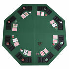 48 Green Octagon 8 Player Four Fold Folding Poker Table Top  Carrying Case