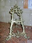 Vintage Ornate Brass Easel Tabletop Display Picture Book Victorian Style 14 1/2