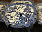 Antique English Meat Platter Drainer Blue Willow Transferware Oval Plateau #3