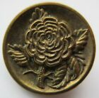 Beautiful Antique~ Vtg Victorian Metal Picture BUTTON w/ Ornate Flower (L)