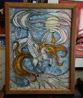 Vintage Stained Glass Horse Unicorn Pegasus Super RARE Etched 14x17 Framed