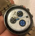 Swatch Irony 2004 3 Blue Sub-dials White Face Chronograph Works