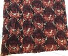 1880-1910 Black and Red Fabric with Birds, Nests and Flowers Design Vintage