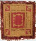 Antique VERY OLD RED VELVET Embroidery METALLIC Wall Hanging Tapestry