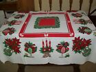 VINTAGE CHRISTMAS TABLECLOTH ORNAMENTS CANDLES POINSETTIA in VASES