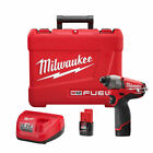 Milwaukee M12 FUEL Li Ion 1 4 in Hex Impact Driver Kit 2453 22 New
