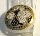 Antique Small Japanese Noble Woman Satsuma Button