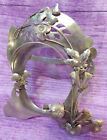 Sterling Silver Oval Picture Frame Easel Table Top Flowers Leaves Vintage Mexico