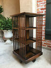 Antique English Oak Revolving Rolling Bookcase Bookshelf Library Arts