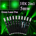 10pcs 2in1 Green Laser Pointer Pen 532nm Mini Stage Beam Light 5MW 2 Mode Lazer