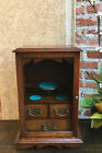 Antique English Tiger Oak Pipe Smoke Cabinet Game Card Box Humidor 1894 Jewelry