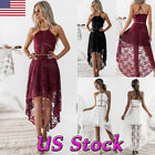 Women Sling Lace Ruffle Asymmetrical Casual Tunic Mini Dress Party Cocktail USA