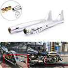 2 Pcs Fishtail Drag Pipe Slip On Mufflers Exhaust For Harley Touring Motorcycle