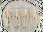 Set of 4 Vintage Wheat Pattern Pilsner Glasses With Gold Rim And Gold Print