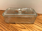 Vintage Anchor Hocking Ribbed Clear Refrigerator Dish - w/ recessed knob handle