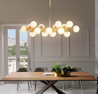 Modern Simple Ceiling Light Gold Rod Chandelier Round Glass DNA LED Fixture