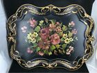 LARGE VINTAGE TOLEWARE FLORAL NASHCO TOLE METAL PAINTED TRAY 19 1/2