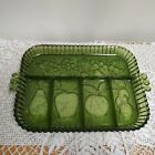 Vintage Indiana green glass fruit  vegetable relish tray 13