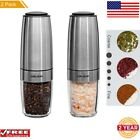 2 Pack Electric Salt and Pepper Grinder Shaker Mill Automatic Gravity Adjustable