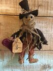 Primitive Valentine Snowman Ornament little Doll tuck sitter