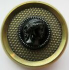 Excellent LARGE Antique~ Vtg Black GLASS in Metal BUTTON Ladies Head Cameo (A)
