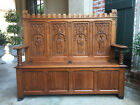 Antique French Carved Oak Hall Bench Settle Chest Renaissance Knight Gothic Pew