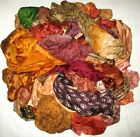 LOT PURE SILK Antique Vintage Sari REMNANT Fabrics 100 GRAMS Brown Scraps #ABI60