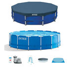 Intex 15 x 48 Metal Frame Above Ground Swimming Pool Set  15 Pool Cover