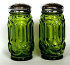 Vintage LE SMITH MOON AND STAR GREEN SALT PEPPER SHAKERS CHROME Screw Lid Top