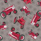 Farmall Show Tossed Tractors Int Harvester Gray Cotton Fabric by the Yard