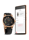 GUESS Connect Smartwatch Model  Black Leather + Rose Gold Plating