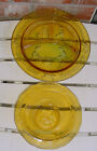 TIARA GLASS MOTHER GOOSE SET DIVIDED PLATE AND CEREAL BOWL AMBER 2 PIECE SET EC
